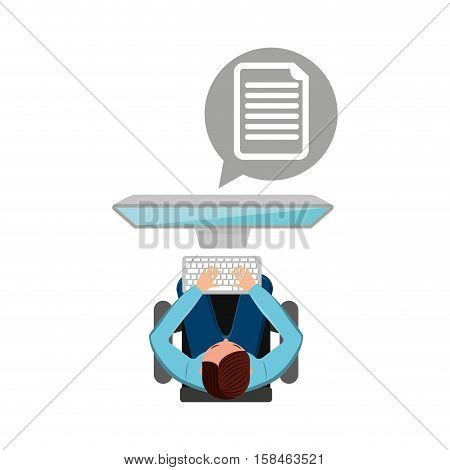 man working computer document media design vector illustration eps 10