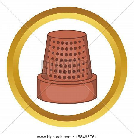 Thimble vector icon in golden circle, cartoon style isolated on white background