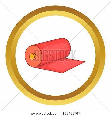 Red fabric roll vector icon in golden circle, cartoon style isolated on white background