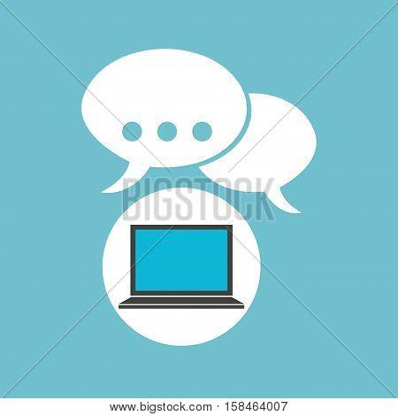 social media laptop bubble speech vector illustration eps 10