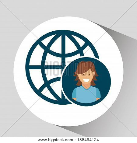 character girl globe social media concept vector illustration eps 10