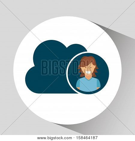 character girl cloud social media concept vector illustration eps 10