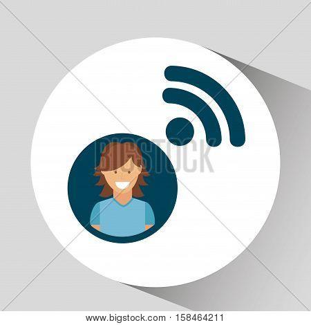 character girl wifi social media concept vector illustration eps 10