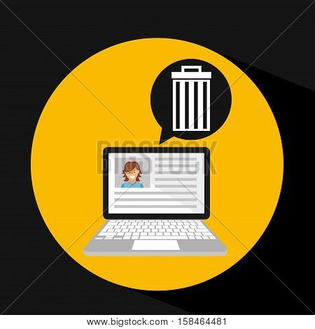 laptop social profile e-wasted vector illustration eps 10