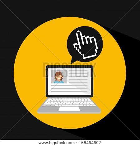 laptop social profile hand cursor icon vector illustration eps 10