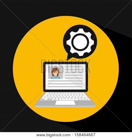 laptop social profile progress icon vector illustration eps 10