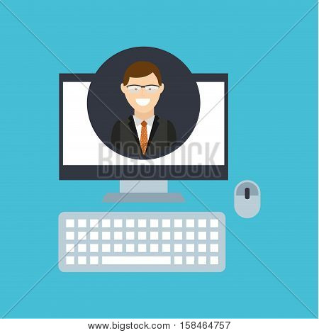 adult man glasses community social network vector illustration eps 10