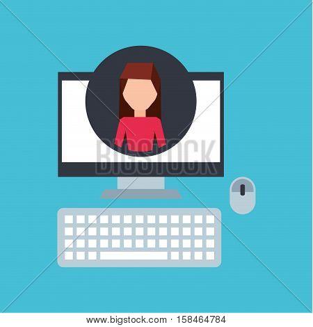 girl pink shirt community social network vector illustration eps 10