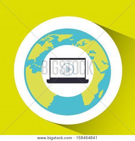laptop social media world map vector illustration eps 10