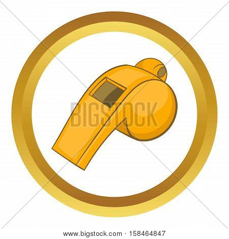 Whistle of referee vector icon in golden circle, cartoon style isolated on white background