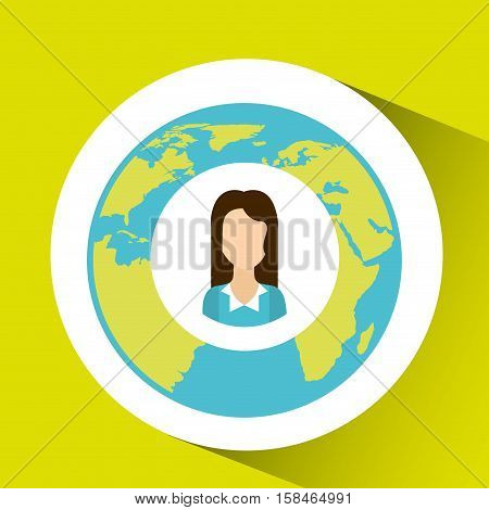 cartoon woman social media world map vector illustration eps 10