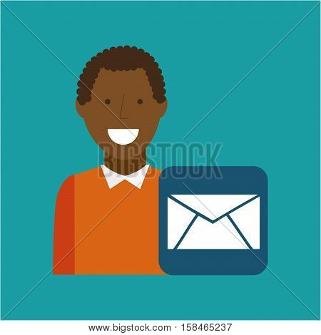 man afroamerican using laptop email media icon vector illustration eps 10