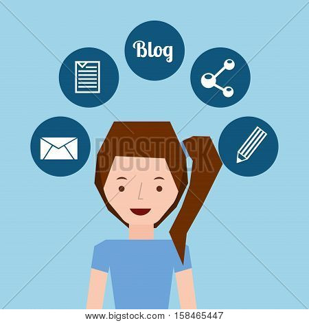 girl tail hairstyle stand and social media icons design vector illustration eps 10