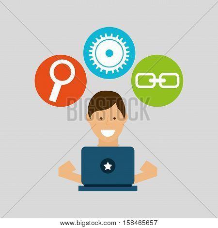 guy working technology social media concept vector illustration eps 10