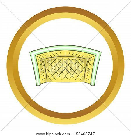 Football goal vector icon in golden circle, cartoon style isolated on white background