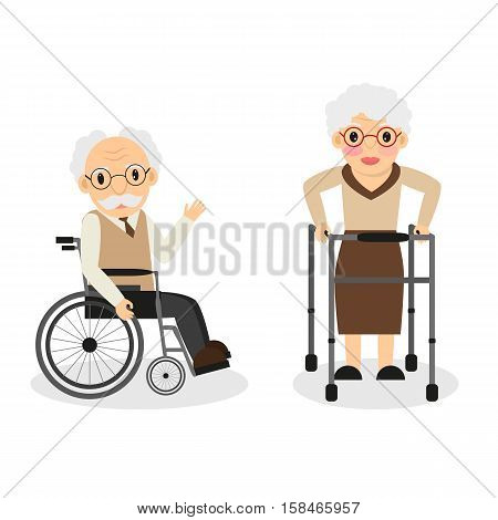 Aged People. Grandmother. Grandfather. Old Age. Disability. For Your Design.