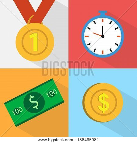 Set Of Icons. Watch Medal. Coins And Bills. Money. Flat Design.