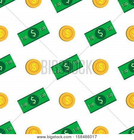 Seamless Pattern. Coins And Bills. Money. Flat Design.