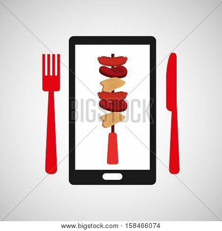 smartphone order skewers food online vector illustration eps 10