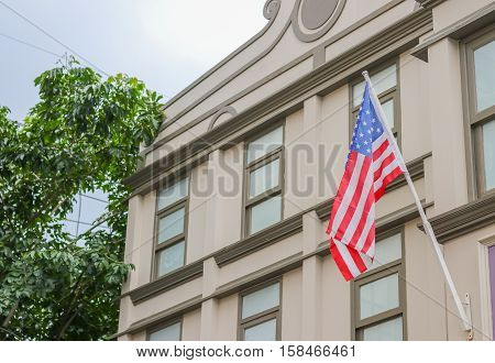 American flag tha thome proudly displaying their poster
