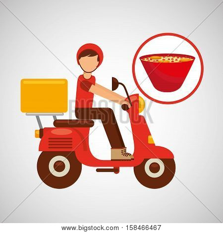 delivery boy ride motorcycle ramen vector illustration eps 10
