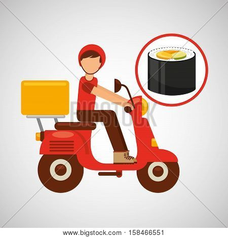 delivery boy ride motorcycle onigiri food vector illustration eps 10