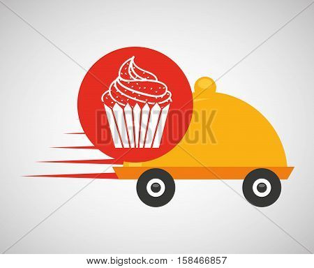 fast delivery food cup cake dessert vector illustration eps 10