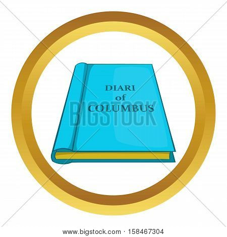Columbus diary vector icon in golden circle, cartoon style isolated on white background