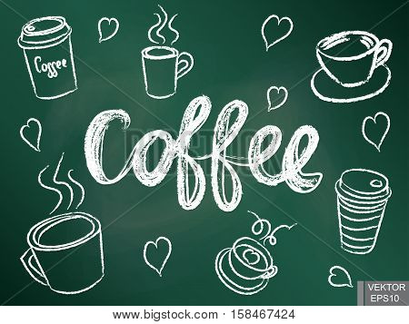 A set of cups for coffee on a chalkboard. Morning invigorating drink