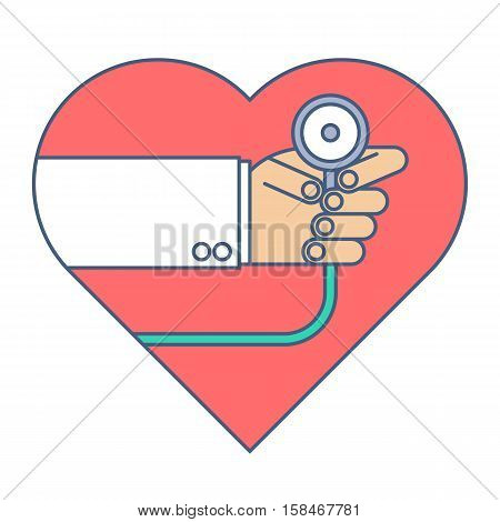 Doctor with a stethoscope exams heart pulse. Medicine and health flat line concept illustration. Cardiologist is holding a phonendoscope and checkin a heartbeat. Medical and health vector element.
