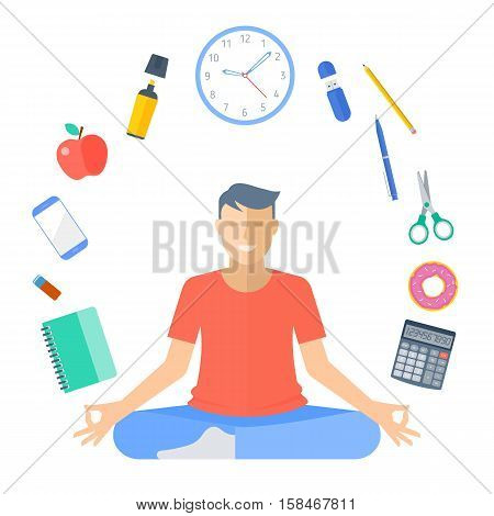 Schoolboy meditation. Flat vector education concept illustration of boy meditation. Student meditates in the lotus pose. Young male pupil sitting in the meditation surrounded with school supplies.