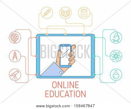 Online education and e-learning concept. Vector flat line illustration of tablet with hand holding phone and school icons: Chemistry Geography Geometry Literature Math Physics Reading Writing.