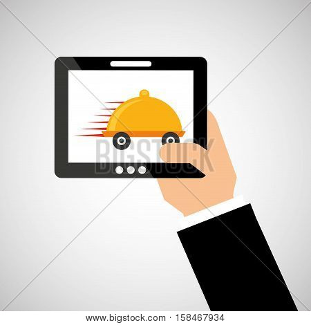 hand hold tablet delivery food vector ilustration eps 10