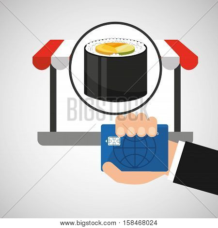 payment credit card delivery food fresh sushi vector illustration eps 10