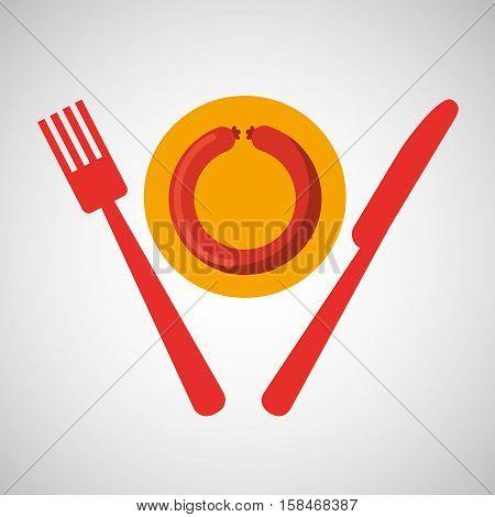 grill fast food concept grilled sausage vector illustration eps 10