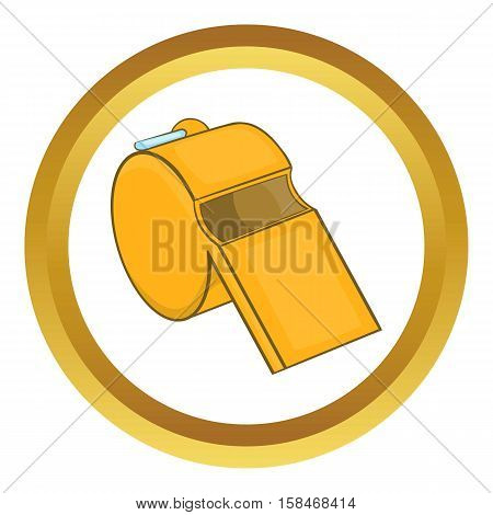 Sports whistle vector icon in golden circle, cartoon style isolated on white background