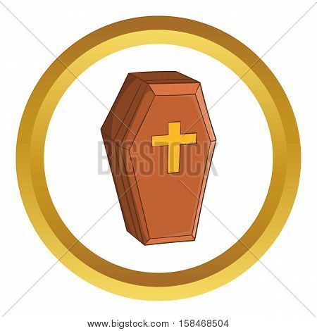 Wood coffin vector icon in golden circle, cartoon style isolated on white background