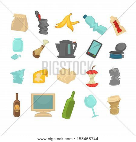 Garbage sorting food waste, glass, metal and paper, plastic electronic, organic icons set. Vector Illustration.