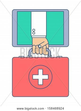 First aid by internet. Telemedicine and telehealth flat line concept illustration. Doctor from tablet computer holding a red first aid case in his hand. Vector tele health and online medicine element.