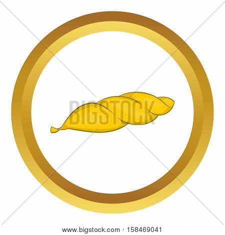 Marijuana leaf vector icon in golden circle, cartoon style isolated on white background