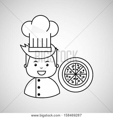 cartoon chef gourmet pizza italian vector illustration eps 10