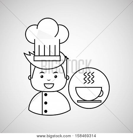 cartoon chef gourmet hot cup coffee vector illustration eps 10