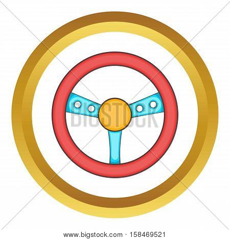 Game steering wheel vector icon in golden circle, cartoon style isolated on white background