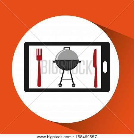 smartphone order bbq food online vector illustration eps 10