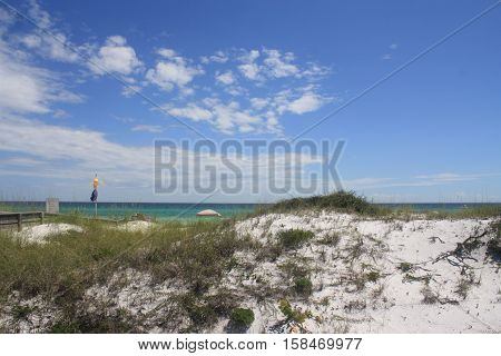 Grayson State Park, Florida - June 23, 2016,  Gulf Dunes and Water Color Striation and Clouds