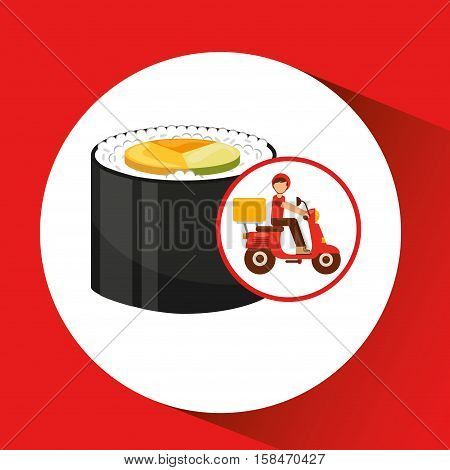 delivery boy ride motorcycle onigiri food vector illustration eps 10