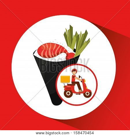 delivery boy ride motorcycle temaki food japanese vector illustration eps 10