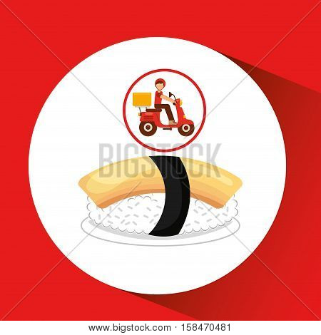 delivery boy ride motorcycle nigiri sushi vector illustration eps 10
