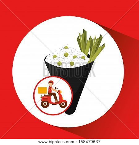 delivery boy ride motorcycle japan dinner vector illustration eps 10