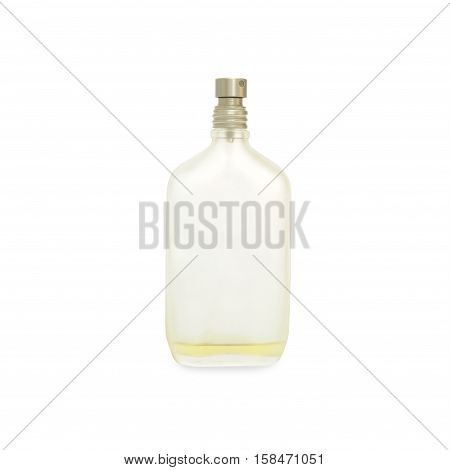close-up perfume bottle isolated on white background